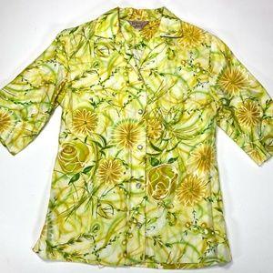 VTG H Bar C California Ranchwear Blouse Yellow 32